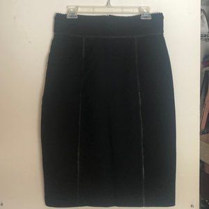 NEW BURBERRY Black Pencil Skirt Leather Trim 12